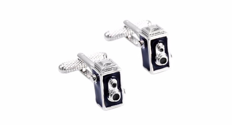 Men's Awesome 3d Vintage Black/Silver Tone Camera Cufflinks