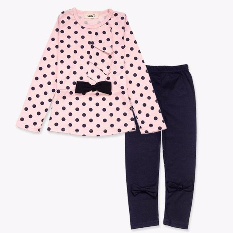 Little Girls 2pcs Pink Polkadot with Bow Long Sleeve Top and Pants Set
