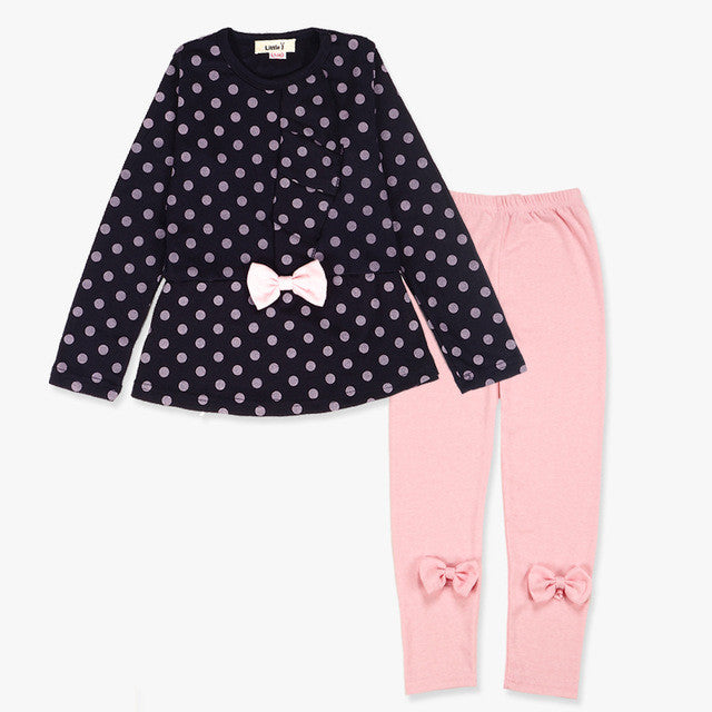 Little Girls 2pcs Navy Polkadot with Bow Long Sleeve Top and Pink Bow Pants Set