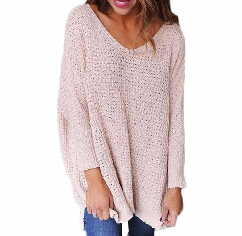 Women's Pink Waffle Texture Sweater Long Sleeve Tunic Length Sweater Pullover Top