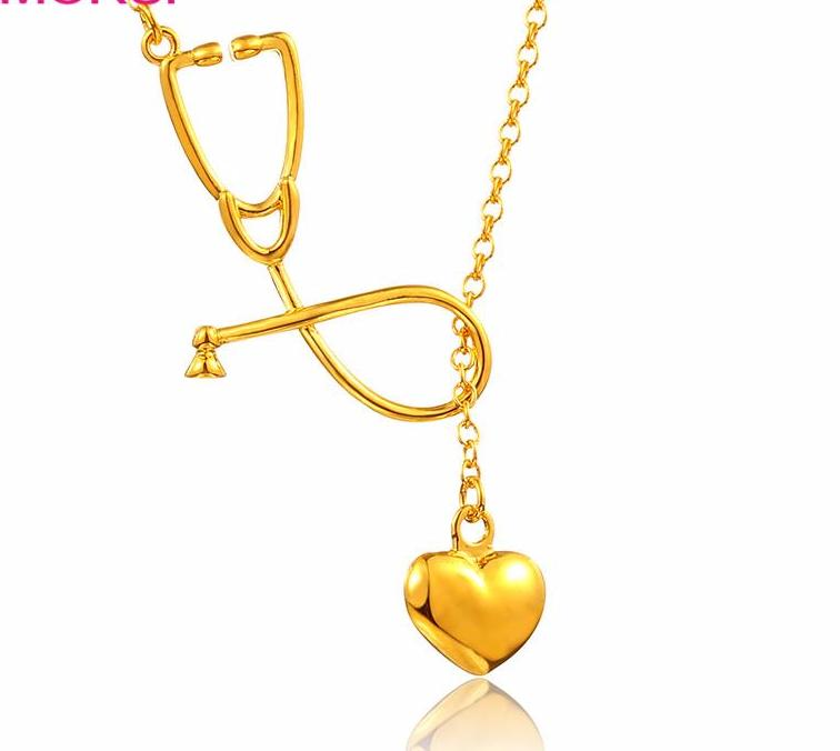 Medical Stethoscope Charm with Lariat Heart Pendant Necklace Gold Tone I Love Nurses/Doctors