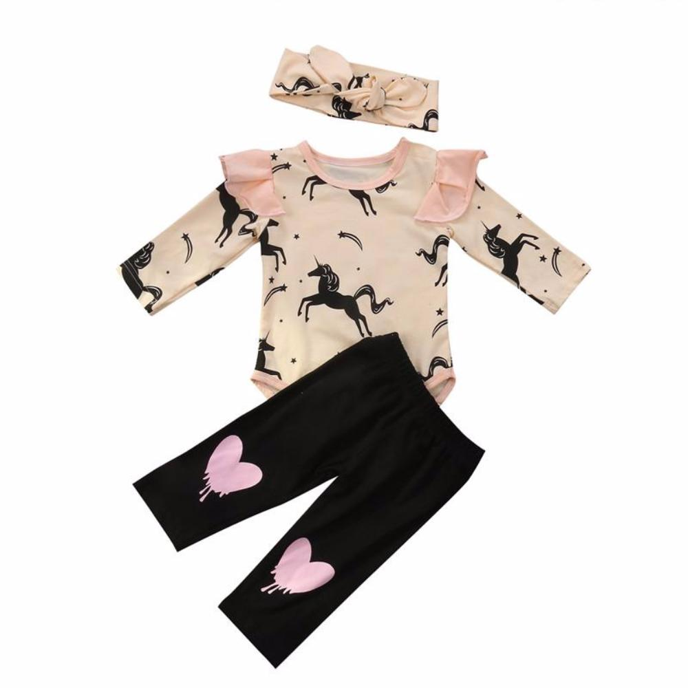 Adorable Baby Girls 3PCS Long Sleeve Shirt, Pants and Matching Headband Set with Horse and Heart Print Detail