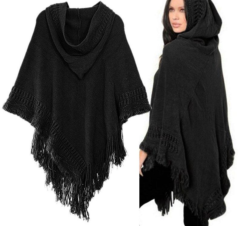 Beautiful Black Knitted Hooded Sweater Poncho with Fringe/Tassel Detail