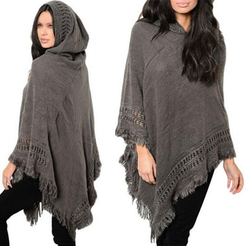 Beautiful Gray Knitted Hooded Sweater Poncho with Fringe/Tassel Detail