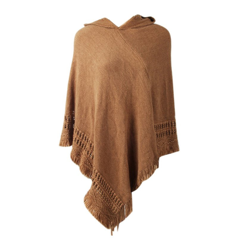 Beautiful Coffee/Brown Knitted Hooded Sweater Poncho with Fringe/Tassel Detail