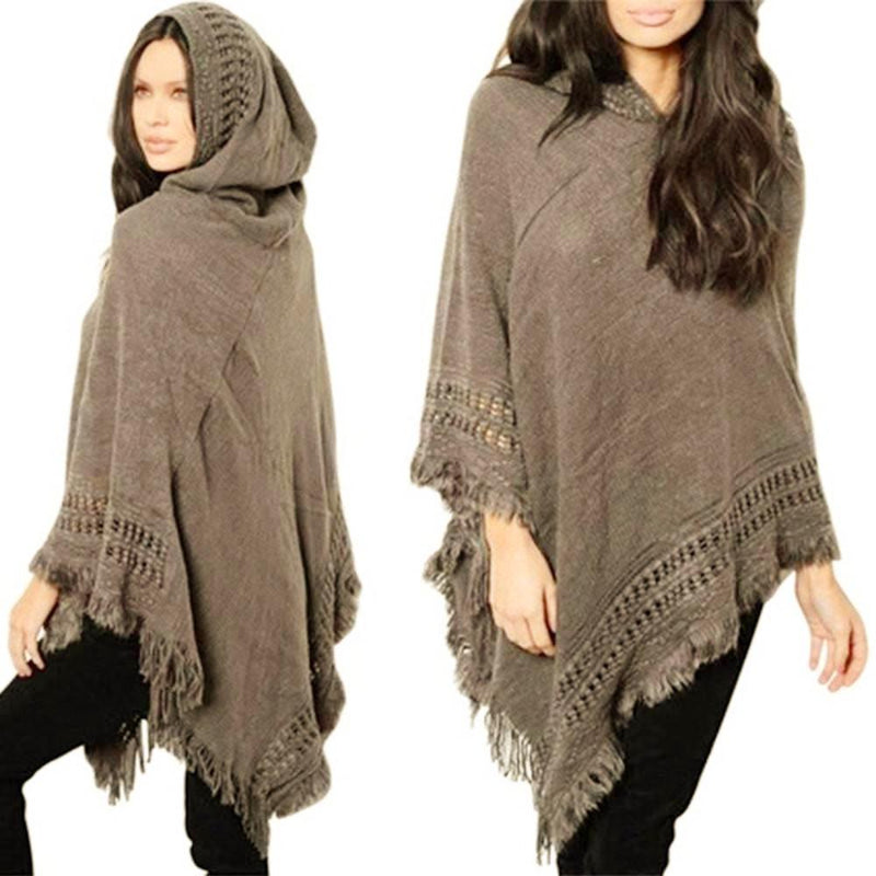 Beautiful Khaki Knitted Hooded Sweater Poncho with Fringe/Tassel Detail