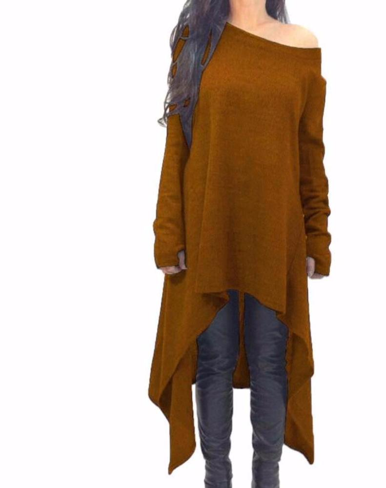 Women's Coffee/Brown Off the Shoulder Shark Bite Hem Long Tunic Duster Top