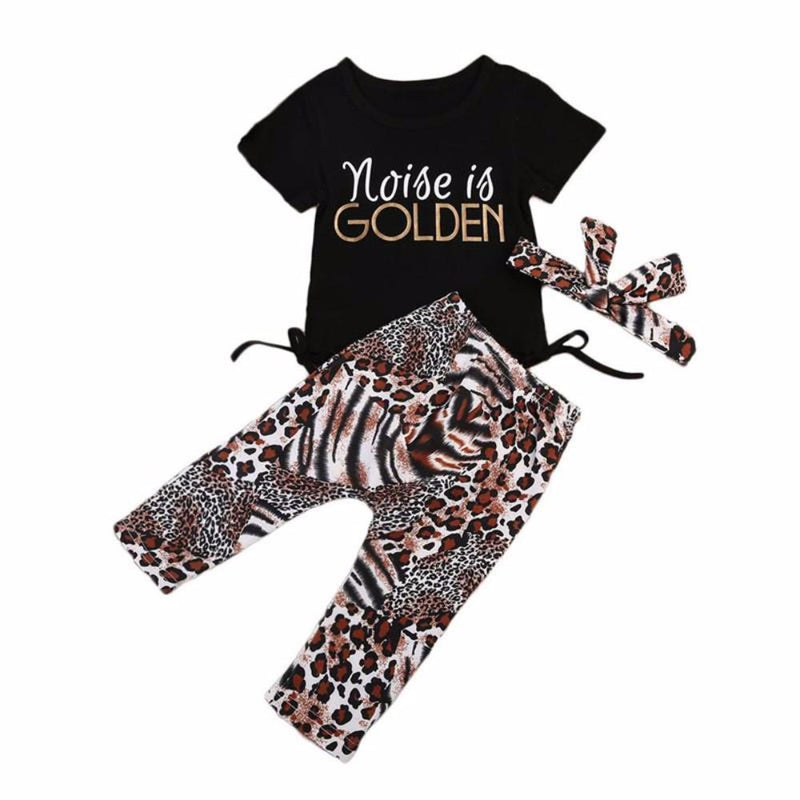 "Adorable Baby Toddler Girls ""Noise is Golden"" 3 Pc Set Pants, T-Shirt and Headband Set"