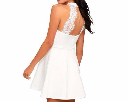 Women's Classic White Sleeveless Halter Style A-Line/Skater Style Party Dress with Back Lace Detail
