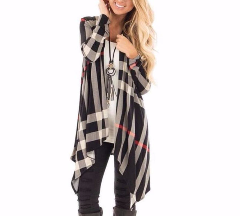 Women's Black/White Plaid Long Sleeve Asymmetrical Cardigan Jacket