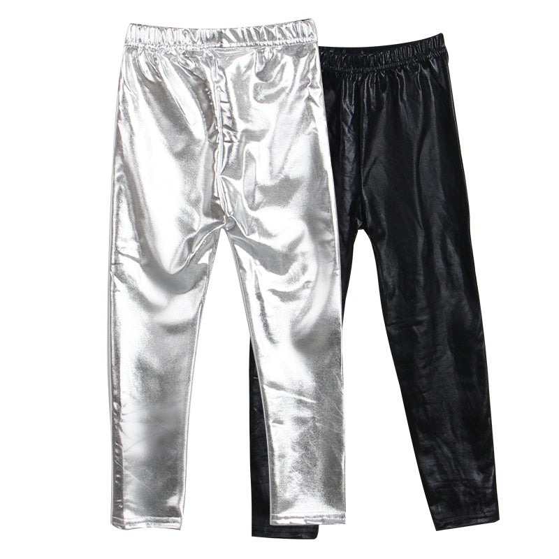 Girls Silver Shiny Foil Skinny Pleather Legging Pants