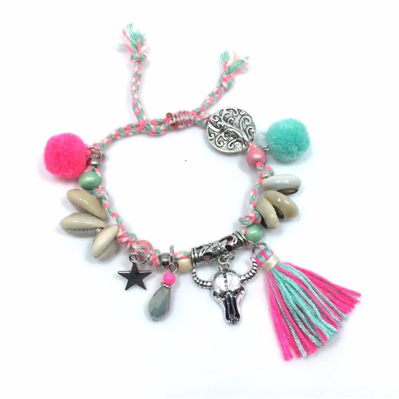 Awesome Pink/Blue Multi Charm with Longhorn, Star, Shells Pom Poms and More Charms Silver Tone