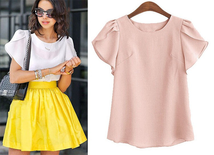 Women's Pink Ruffle Butterfly Sleeve Classic Solid Short Sleeve Blouse