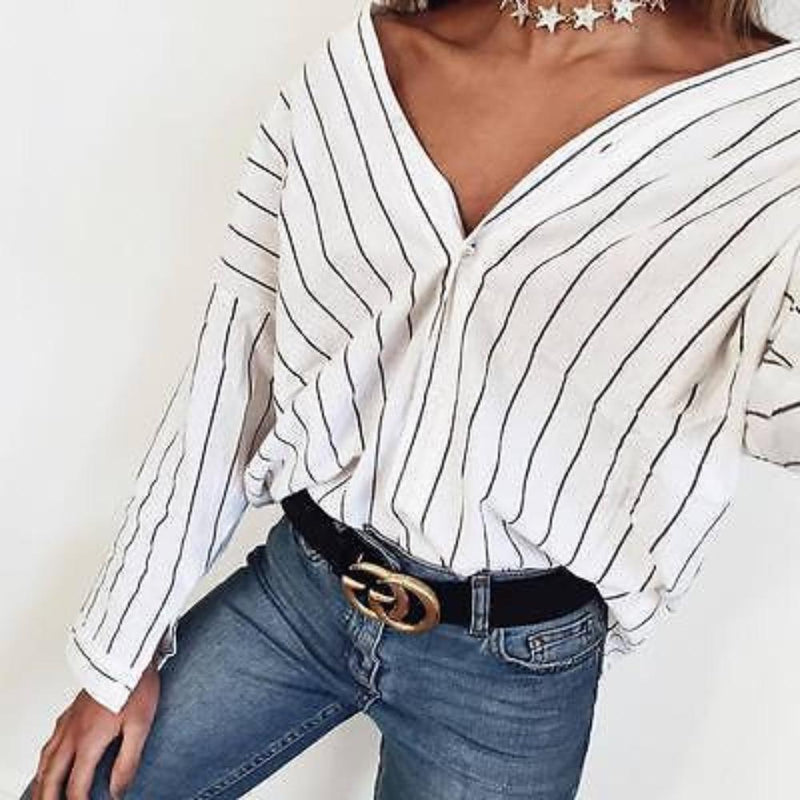 Extreme V-Neck White Stripe Long Sleeve Striped Blouse Shirt