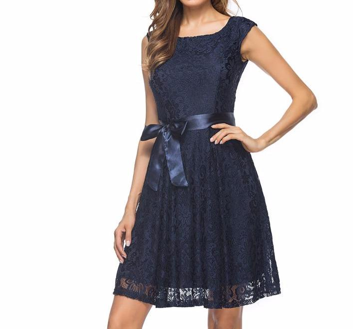 Women's Navy Blue Lace Elegant Cap Sleeve Vintage Style Fancy Wedding Party Dress with Tie and V-Back