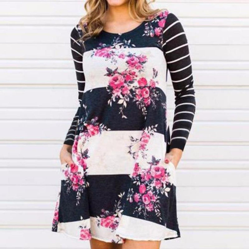 Women's Black/Pink Floral Striped Raglan Sleeve Casual Shift Dresses