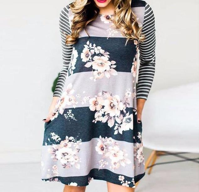 Women's Gray Floral Striped Raglan Sleeve Casual Shift Dresses