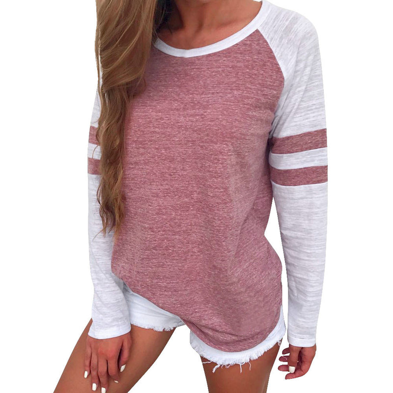 Women Pink/White Striped Baseball Style Long Sleeve T-Shirt Top