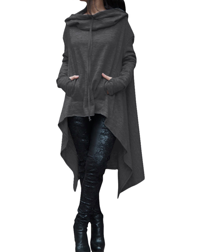 Women's Charcoal Gray Oversized Hooded Asymmetric Pullover Sweatshirt Jacket