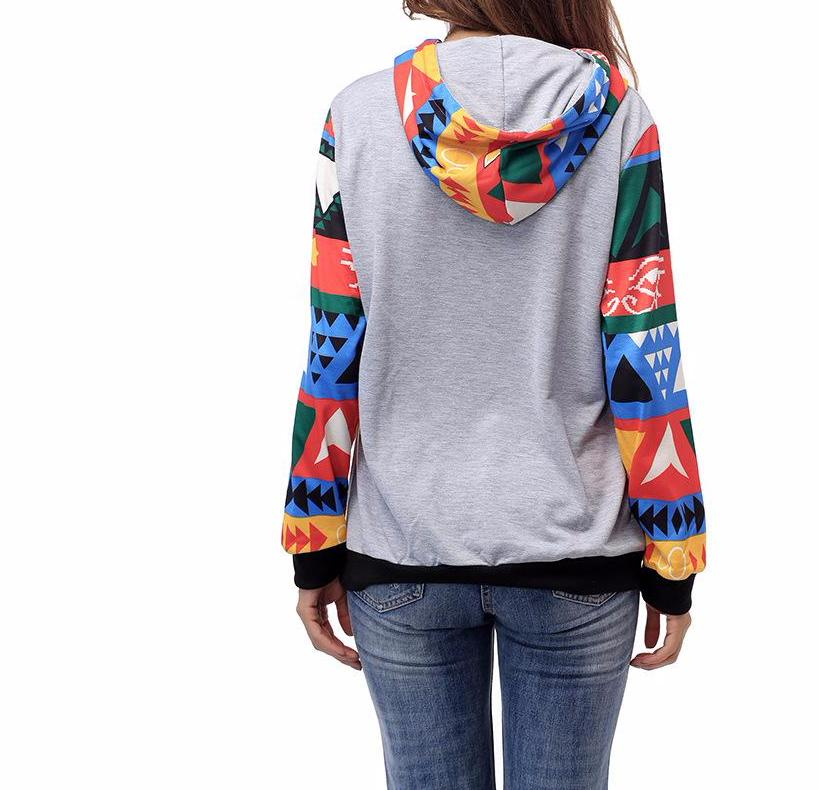 Women's Heather Gray with Red Aztec Print Raglan Long Sleeve Hooded Casual Sweatshirt Pullover