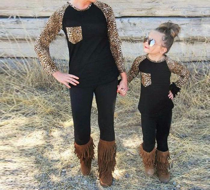 Mommy and Me Black Raglan Sleeve Leopard Print Matching Top