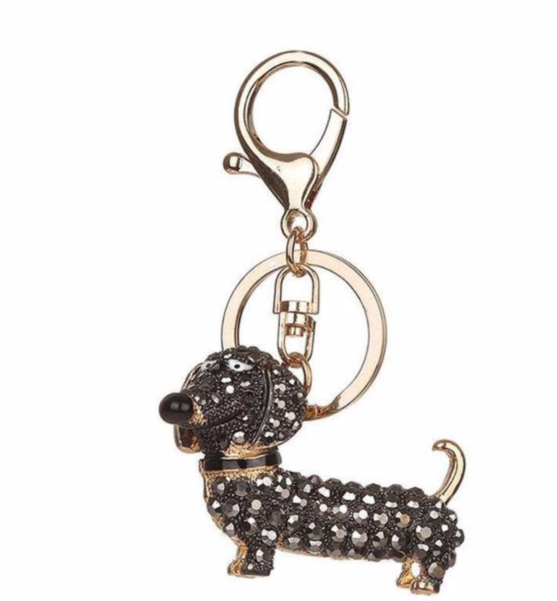 Adorable Puppy Dachshund Black Crystal Covered Keychain with Key Ring and Clip Gold Tone
