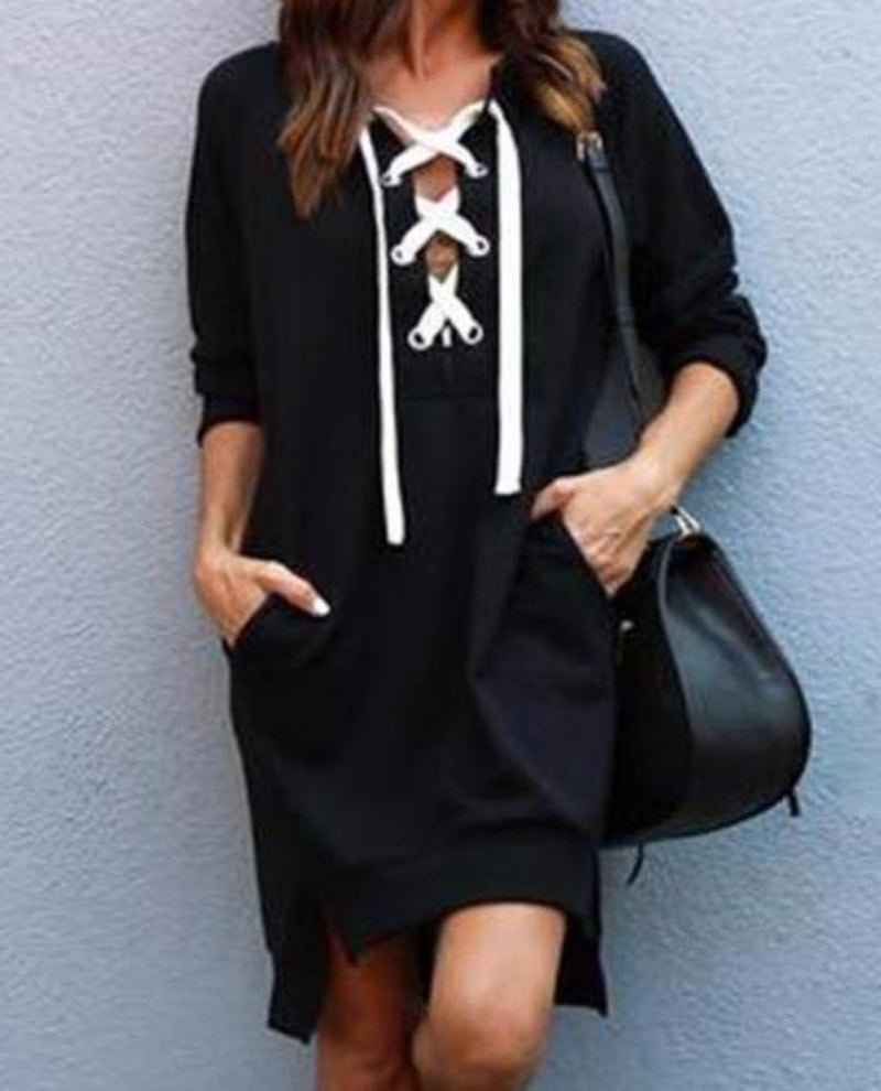 Women's Comfy Black Long Sleeve Lace Up Front Hoody/Sweatshirt Pocket Dress