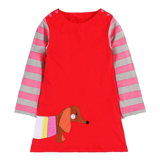 Sweet Red Striped Long Sleeve Girls Dress with Colorful Doxin/Dachshund Dog
