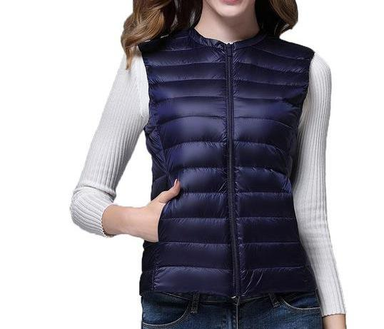 Women's Navy Lightweight Duck Down Sleeveless Vest with Carrying Pouch