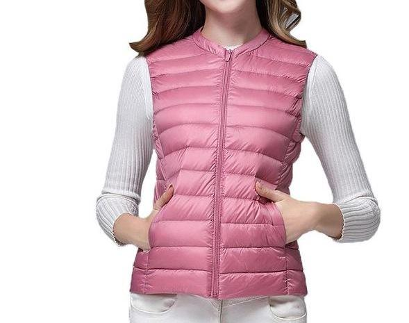 Women's Pink Lightweight Duck Down Sleeveless Vest with Carrying Pouch