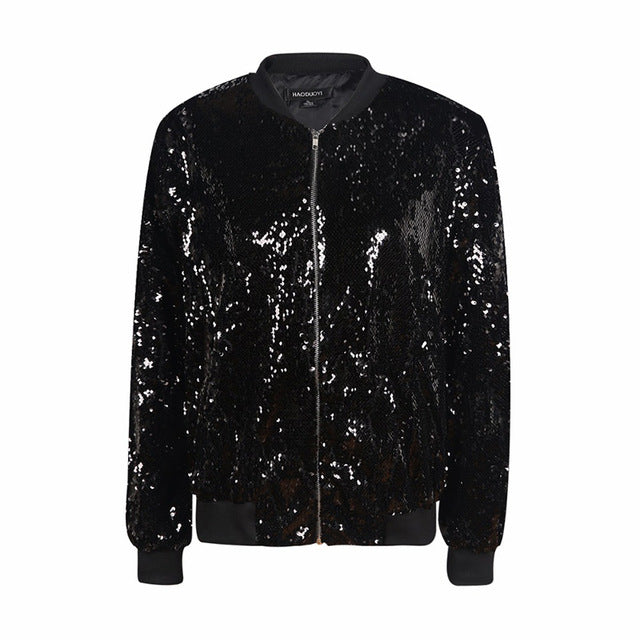 Women's Black Sequin Bomber Style Long Sleeve Jacket