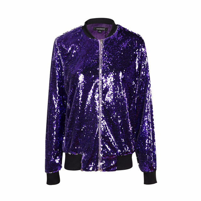 Women's Purple Sequin Bomber Style Long Sleeve Jacket