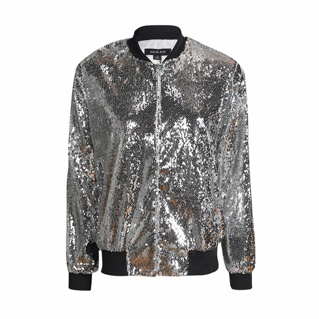 Women's Silver Sequin Bomber Style Long Sleeve Jacket
