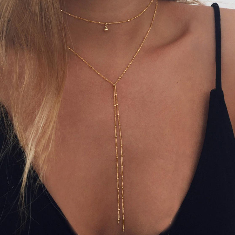 Women's Simple Ball Layering Double Lariat Necklace Gold Tone