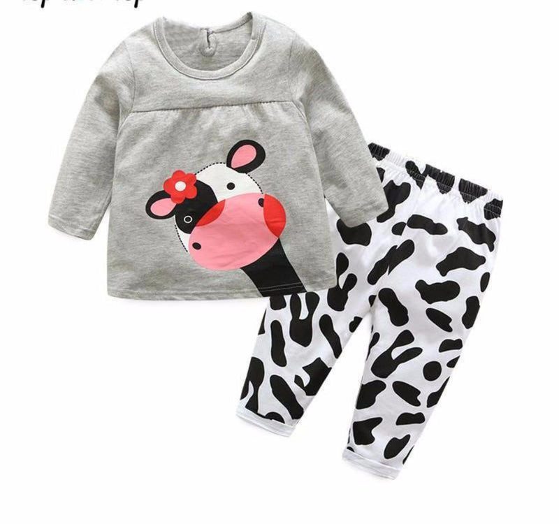 Sweet Baby Toddler Girls 2 Piece Gray Baby Cow Sweat Shirt and Pants Set
