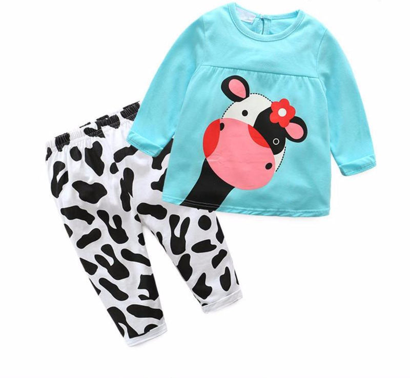 Sweet Baby Toddler Girls 2 Piece Sky Blue Baby Cow Sweat Shirt and Pants Set