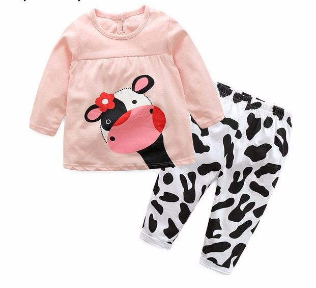 Sweet Baby Toddler Girls 2 Piece Pink Baby Cow Sweat Shirt and Pants Set