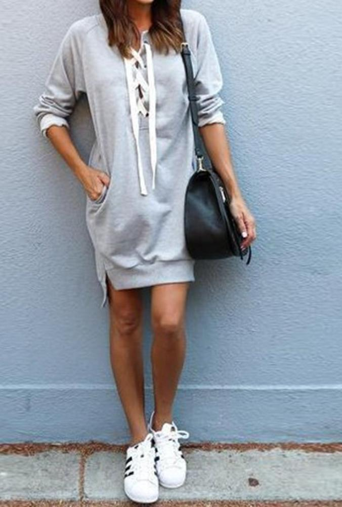 Women's Gray Casual Long Sleeve Lace Up Sweat Shirt Dress