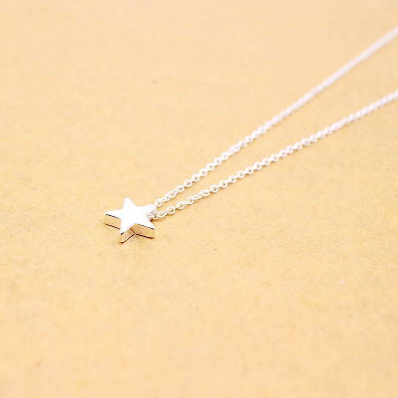 Women's Dainty Single Star Charm Necklace Silver Tone