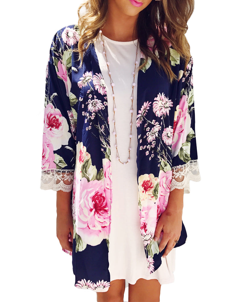 Beautiful Navy/Pink Floral rose Flower Printed 3/4 Sleeve Lace Trim Chiffon Kimono