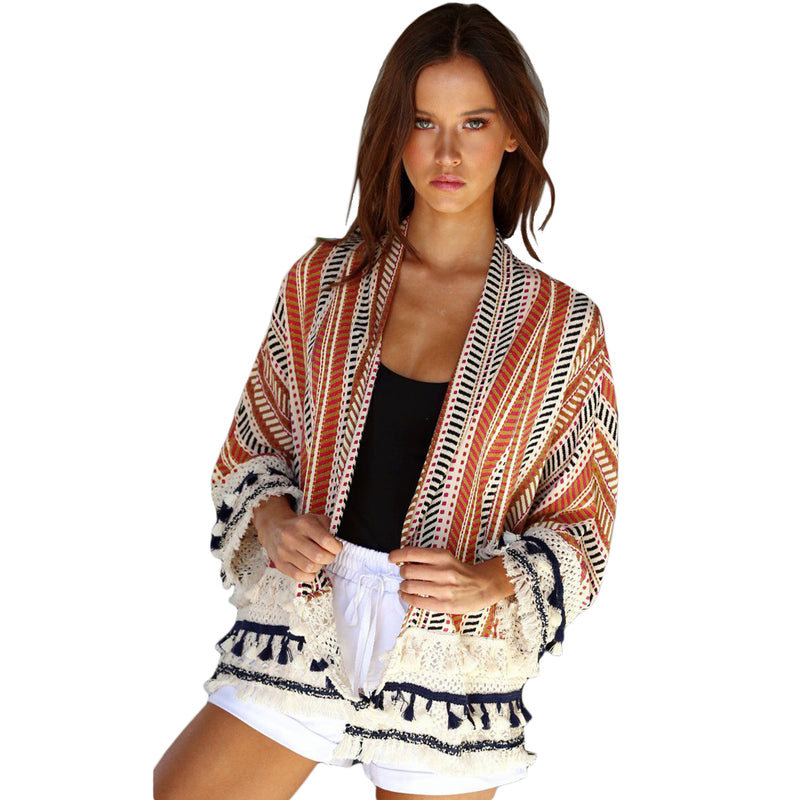Women's Orange Multi Colorful Abstract Stripe Printed Kimono Cardigan Jacket with Fringe Detail