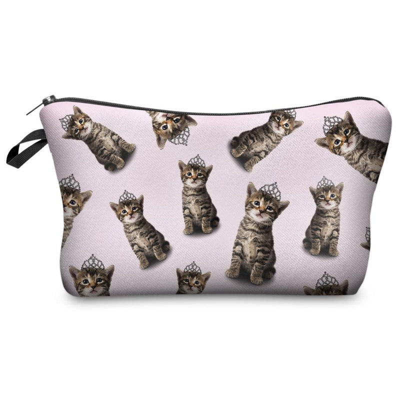 Super Cute Princess Kitty Cats Photo Printed Chic Women's Makeup Cosmetic Bag Zippered Pouch