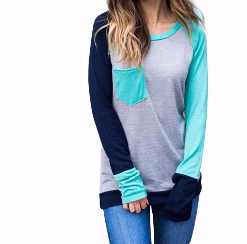 Women's Mint Gray Navy Color Block Abstract Long Sleeve Baseball T-Shirt with Pocket