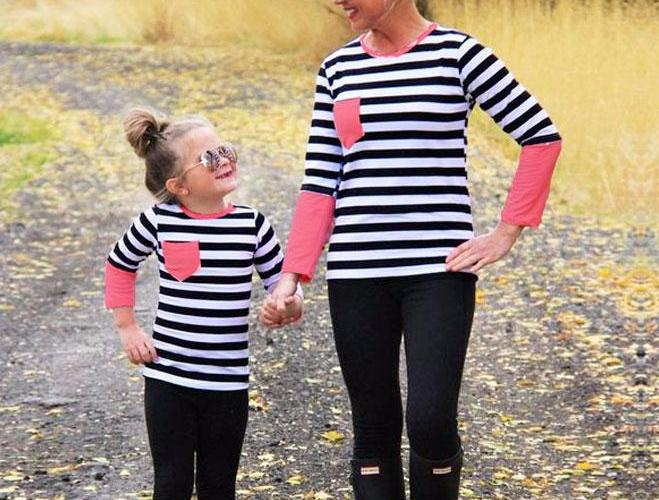 Adorable Mommy and Me Black/White Striped with Pink Detail Family Matching Set