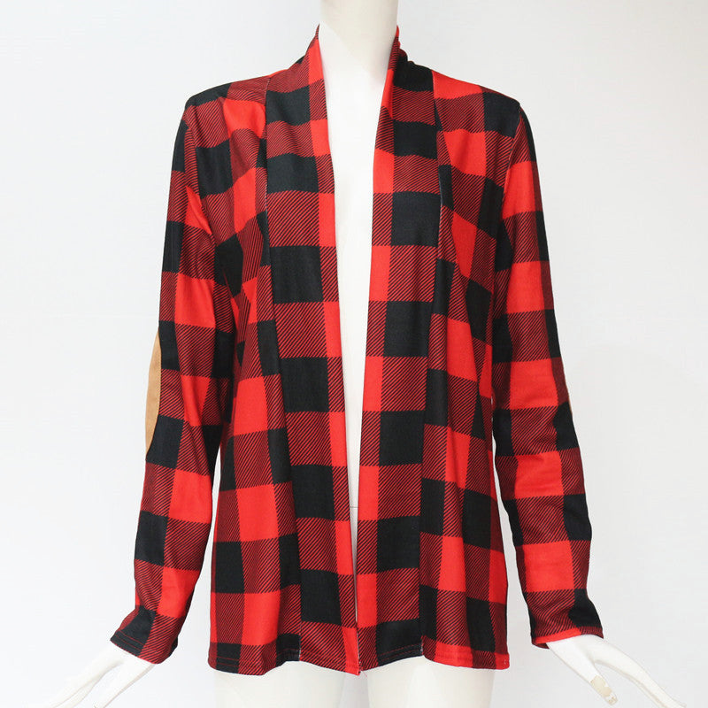 Women's Red/Black Plaid Detail Cardigan Sweater with Suede  Arm Patch Detail
