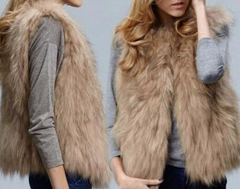 Women's Khaki Faux Fur Fur Vest Sleeveless Jacket