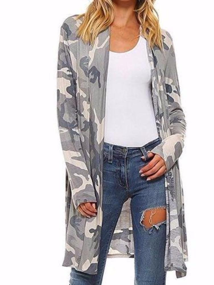 Women's Gray Camouflage Long Cardigan Jacket