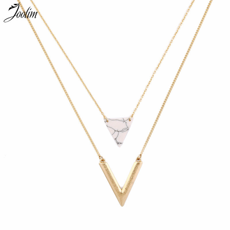 "Double Layered ""V"" and Triangle Beaded Charm Layered Necklace Gold Tone"