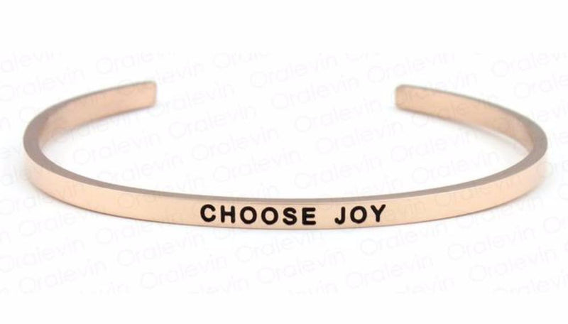 Inspirational Choose Joy Cuff Mantra Bracelet Gold Tone