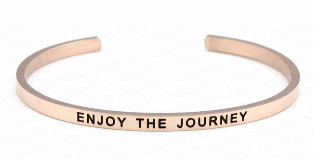 Inspirational Enjoy the Journey Cuff Mantra Bracelet Gold Tone